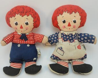 Raggedy Ann and Andy Dolls, Knickbocker Toy Co., beanbag body