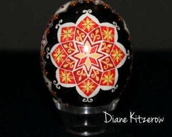 Pysanky; Chicken Egg Pysanka; Bright yellow/orange star against black background; Ukrainian Easter eggs pysanky eggs painted eggs home decor
