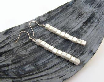 Bar jewelry earring Bar jewelry Bar earring Jewelry earring Silver bar earrings Minimalist earring bar Dainty jewelry earring Pearl earring