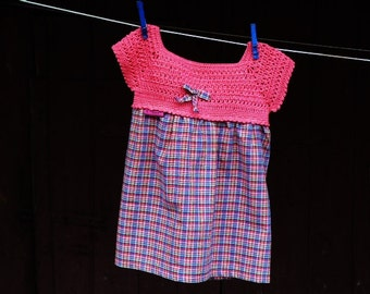 Tunics children dress with crochet yoke