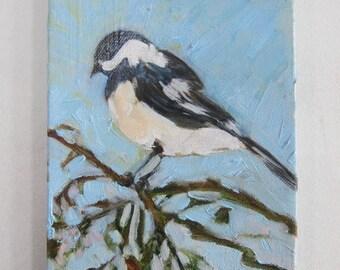 """Chickadee - acrylic, 7""""x5"""", birds"""