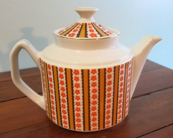 Vintage Teapot, Retro Teapot, Retro Orange, Brown and Gold Teapot, Teapot with Stripes and Little Flowers - V153