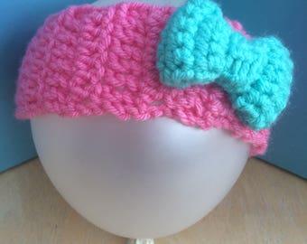 Bow headband, Crochet Headband with Bow, 6-12 months bow headband, baby headband, chunky headband, vegan friendly headband, ear warmer
