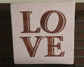 Pink LOVE wooden sign