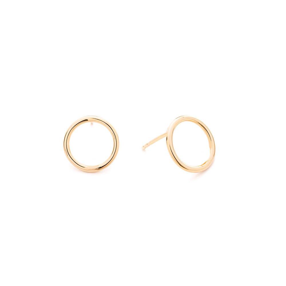 8mm 14k Solid Gold Circle Stud Earrings/ Gold Hoop Earrings/ Small Hoop Earrings/ Open Circle Studs/ Dainty Gold Earrings/ Geometric Design