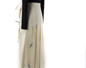 pleated skirt WHITE painted