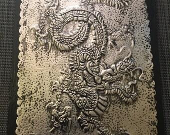 Dragon Art - Embossed Metal Dragon Art - Embossed Fantasy Art - Handmade Metal Dragon Wall Art - Embossed Dragon Art