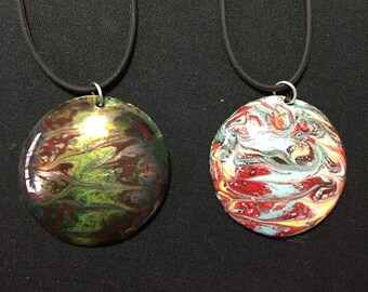 Domed Copper-Enamel Pendant - Multicolor