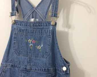 Embroidered Flower Denim Overalls (Shorts)