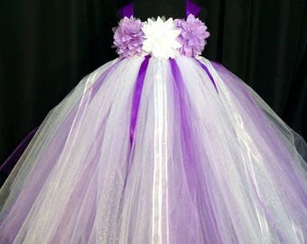 White and purple flower girl dress, tulle flower girl dress, tutu dress for girls, tutu flower girl dress, wedding, white flower girl dress