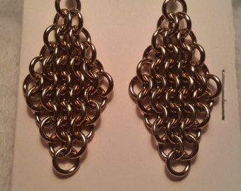 Champagne Chain Maille (European 4-1) Earrings