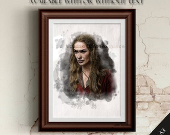 """Game of Thrones   Cersei Lannister   A4/A3   Downloadable   Digital Copy   """"Love is Weak""""   House Lannister   Handcrafted   Drawing"""