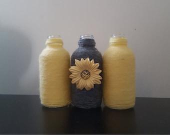 Yarn Wrapped Mini Bottles or Vases, Order in Various Colors!
