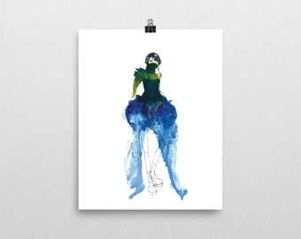 Nephele- Post Apocalyptic Steampunk Fashion Illustration Wall Art