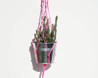 macrame hanging plant pot holder (small) neon pink cord yarn knotting retro
