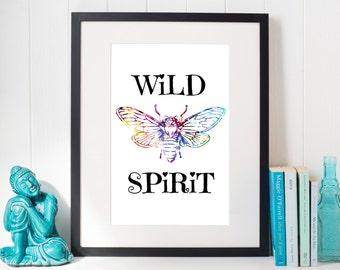 Wild Spirit Art, Stay Wild, Free Spirit, Gypsy Soul, Boho Floral Wall Art, Gypsy Boho Wall Art, Boho Wall Art Decor, Boho, Bohemian, Print