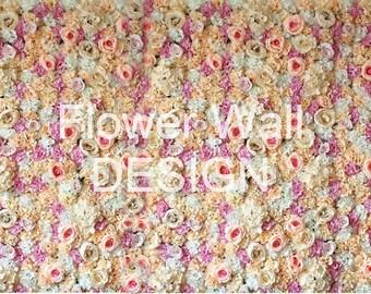 Flower Wall Backdrop Lavender, Peach and Ivory Silk Flowers - Artificial Flower Wall - Wedding Backrop - Maui
