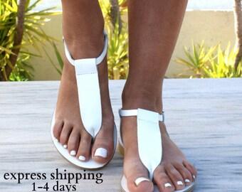 CHLOE 2 sandals/ ancient Greek leather sandals/ t-strap sandals/ leather grecian sandals/ handmade sandals/ Greek flats/ white color sandals