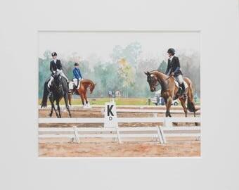"Original Horse Art/Matted Watercolor Painting/Artwork 11""x14""/Mat 16""x20""/""Warm-up at Red Hills 2014 no. 1"" by Shay Roberts"