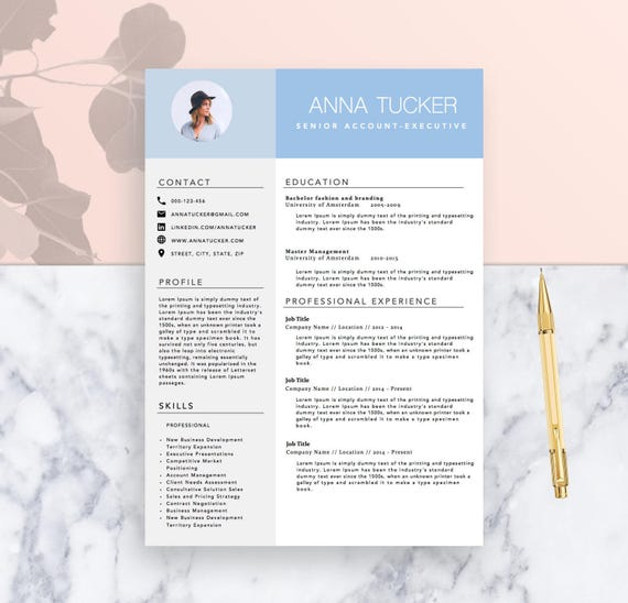 modern resume template cv template for word two page