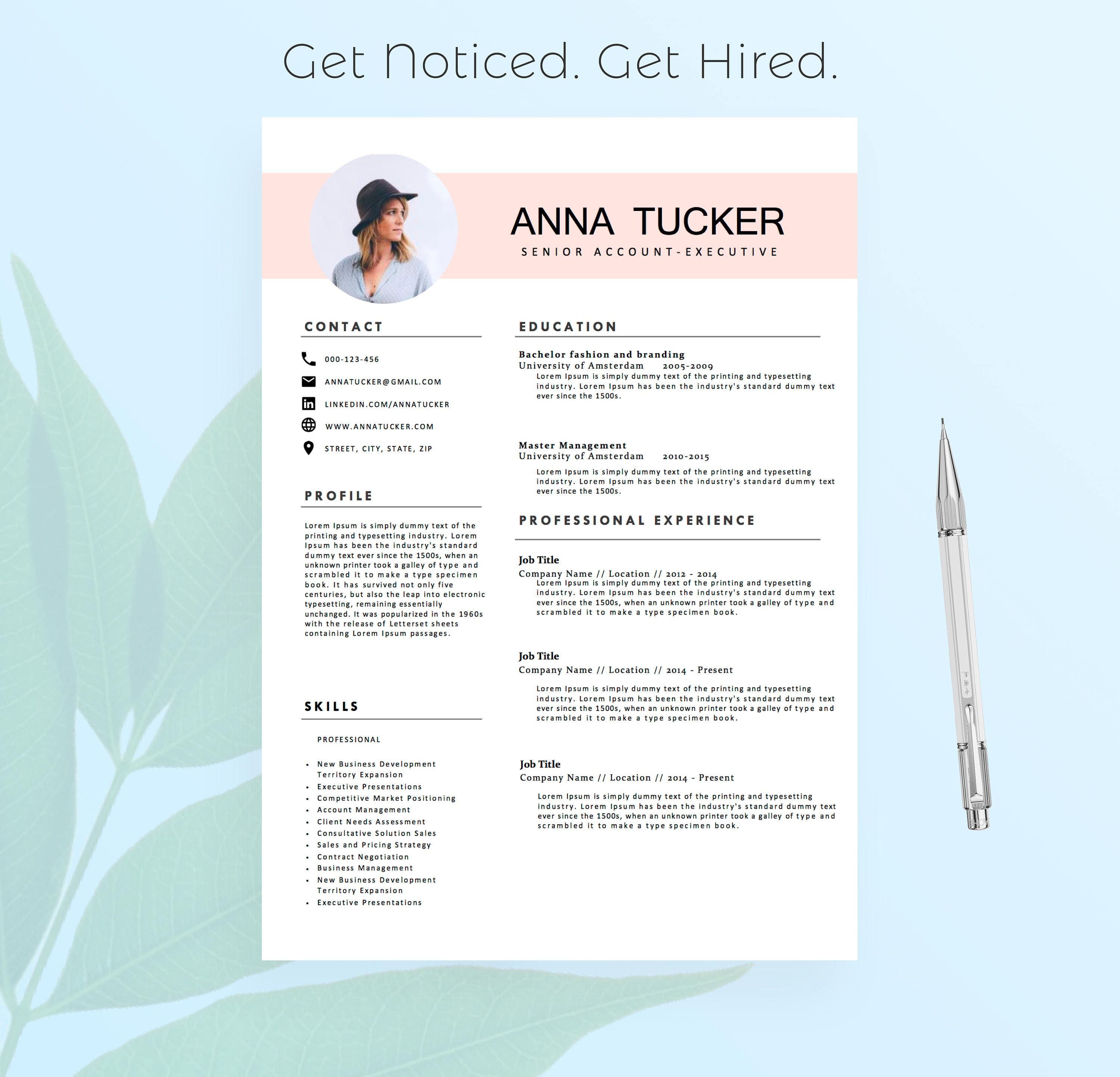modern resume template    cv template professional and