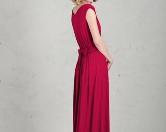 Long Bridesmaid Dress - Emma, Raspberry Red