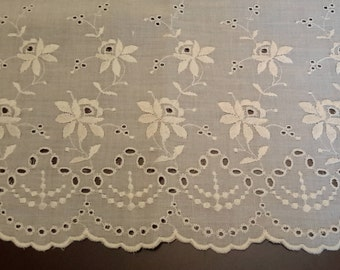 SALE Vintage Cream 2 pc Eyelet fabric, Quilting sewing crafting fabric material