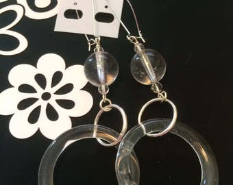 Handmade Glass Beaded Dangle Earrings with Clear Glass Rings