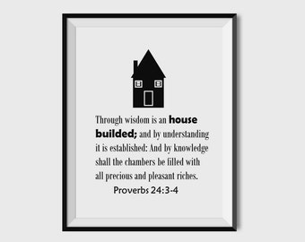 Proverbs 24:3-4 Bible Verse Print, Inspirational Bible Verse Art Print, Inspirational and Spiritual Wall Art