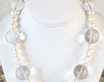AAA Round Freshwater Pearl and AAA Rock Crystal Quartz Statement Necklace with Sterling Silver Clasp