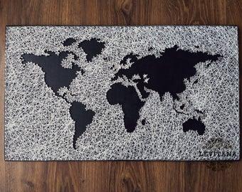 String Art | World Map | Large World Map | Travel Map | Wood Wall Art | Home Decor | Office Decor | Living Room Decor | World Map Print