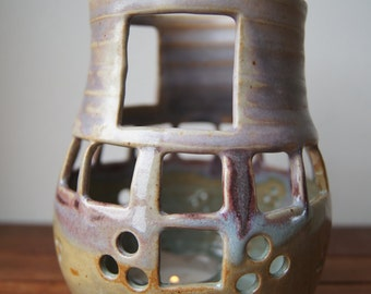 Candle holder in stoneware, ceramics, pottery