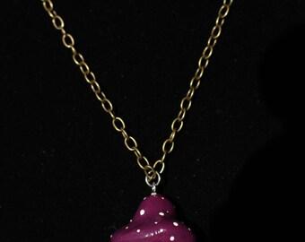 Purple Cap Vial of Tourmaline Mushroom Crystal Pendant