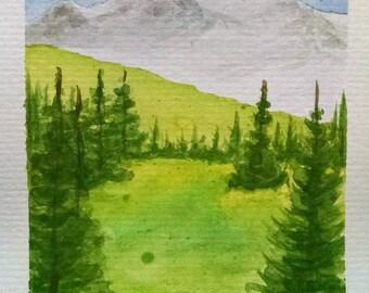 Spring Meadow Watercolor