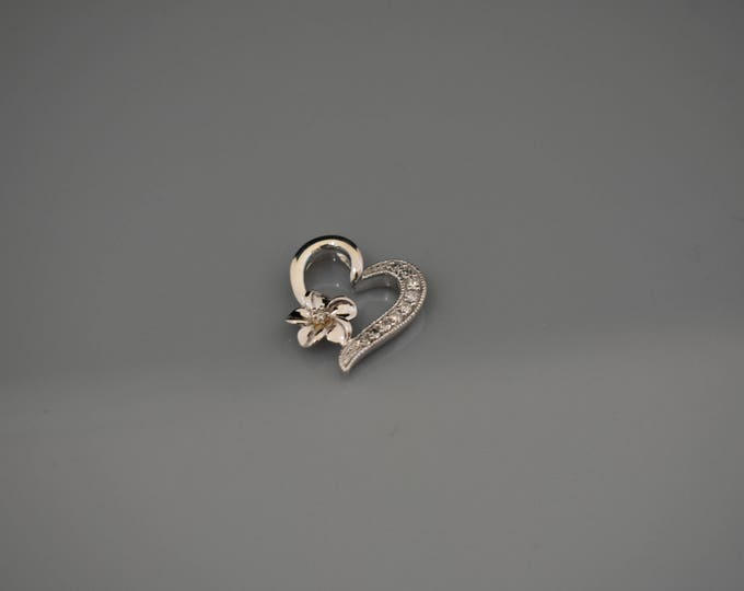 10K white gold heart pendant!