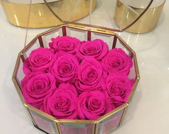 10 Eternity Roses in a Round Glass and Brass box