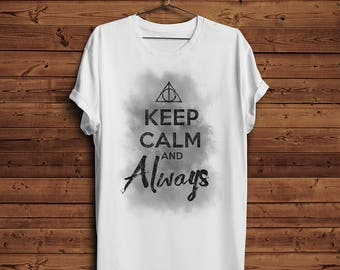Harry Potter Keep Calm And Always Triangle T Shirt Tee | Mist Fog After All this Time Always | Grunge Logo Funny (Men & Women T shirts)