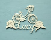 Bicycle / Bike Handcut Personalised Papercut, cycling, name, birthday gift, present, roses, hand made, paper cut