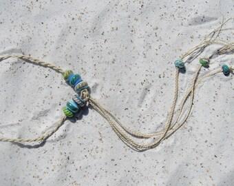 Braded linen threaded glass bead medieval style choker