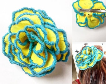 Yellow and Turquoise Hair Clip