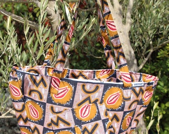 Large African fabric tote bag