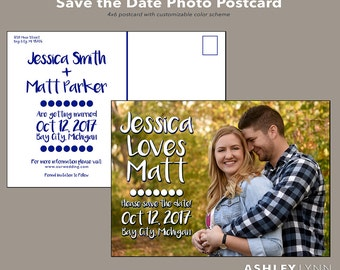 Printed Save the Date Photo Postcard- Color Customizable