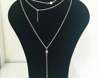 3 Layered Pendant and Bar Chain