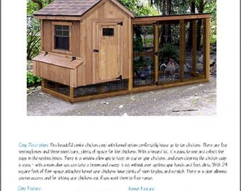Chicken Coop Plans with Kennel / Run, 4' x 10' Gable / Lean-to, Material List and Step-By Step Instructions Included, Design # 50410GL