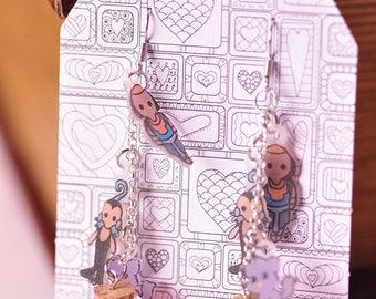 Walt Disney Emperor's New Groove Kuzco Yzma disney earrings Shrinkydink earrings magic potion bottle charm cute kitten disney magic kronk