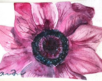 Original Watercolor Painting 4 x 6 Postcard, Anemone Flower Art, Postcard Painting, Original Artwork, Floral Art, Flower Lover