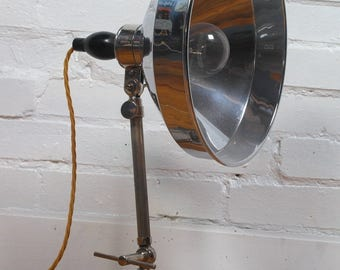Art Deco 1930s chrome industrial desk lamp light vintage retro antique metal lighting