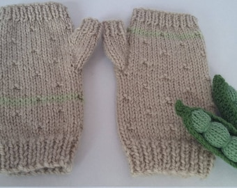 Mittens fingerless handknit for toddler/child