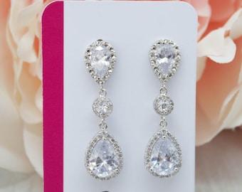 Long earrings silver plated wedding Jewelry Bridal Jewelry