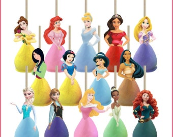 Disney Princess Cake Pop Toppers Printables -- DIGITAL -- All 14 princesses (Also works on cupcakes and candy apples!)